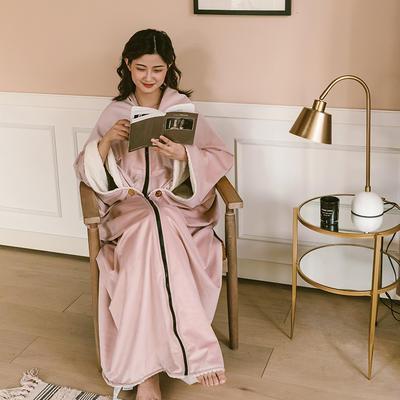 2020新款丽丝绒绣花毛毯可做懒人毯披肩披风毛毯单人办公室午睡斗篷毯 145*165cm 薇娅粉