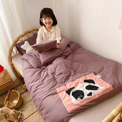 2019新款兒童可拆洗抗菌大豆針織冬被 枕套小號50*30/只 紫色