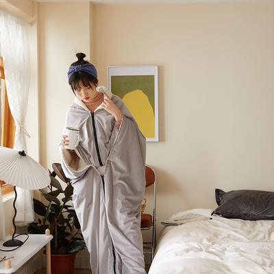 2020新款丽丝绒绣花毛毯可做懒人毯披肩披风毛毯单人办公室午睡斗篷毯 145*165cm 气质灰