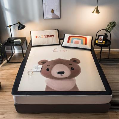 2021款丹麦大阪卡通提花冰丝凉席单双人软席 1.2*2.0 两件套 小灰熊