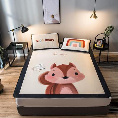 2020款丹麥大阪卡通提花冰絲涼席單雙人軟席 0.9*2.0 兩件套 小松鼠