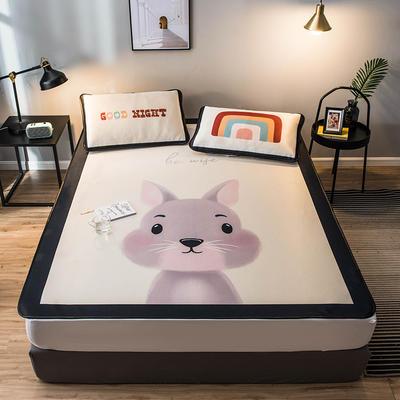 2020款丹麥大阪卡通提花冰絲涼席單雙人軟席 0.9*2.0 兩件套 小兔子
