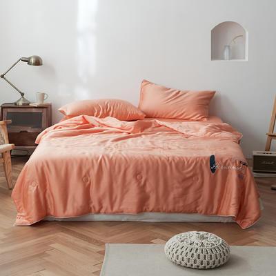 2020新款轻奢天丝艺术绣花夏被丝滑空调夏凉被薄款被子 200X230cm单夏被 荷兰橘