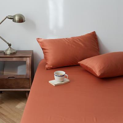 2020新款天丝纯色床笠三件套丝滑简约床罩 180cmx200cm床笠三件套 赤陶色