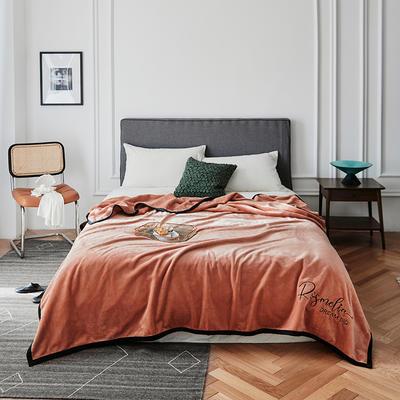 2021新款毛毯被子四季办公室午睡毯法兰绒保暖纯色小盖毯子学生单人空调毯 200*230cm 焦糖色