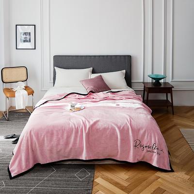 2021新款毛毯被子四季办公室午睡毯法兰绒保暖纯色小盖毯子学生单人空调毯 200*230cm 少女粉