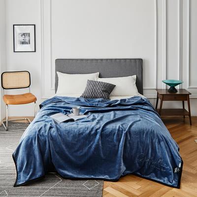 2021新款毛毯被子四季办公室午睡毯法兰绒保暖纯色小盖毯子学生单人空调毯 200*230cm 深邃蓝