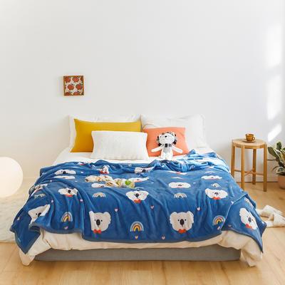 2020新款法兰绒小毛毯被子办公室午睡毯单人加厚保暖珊瑚绒毯子空调盖毯冬 180*200cm 彩虹考拉