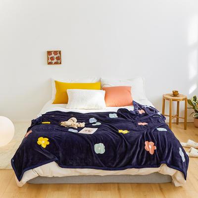 2020新款法兰绒小毛毯被子办公室午睡毯单人加厚保暖珊瑚绒毯子空调盖毯冬 150*200cm 彩色花