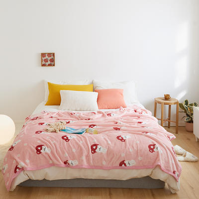 2020新款法兰绒小毛毯被子办公室午睡毯单人加厚保暖珊瑚绒毯子空调盖毯冬 150*200cm 茶杯兔