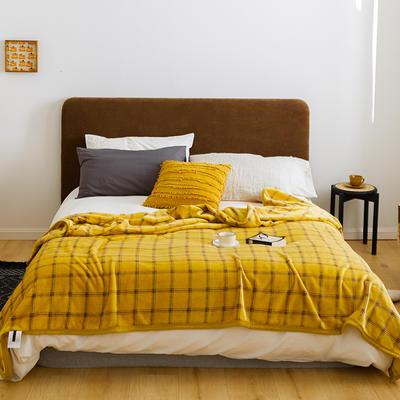 2020新款法兰绒小毛毯被子办公室午睡毯单人加厚保暖珊瑚绒毯子空调盖毯冬 150*200cm 经典黄格