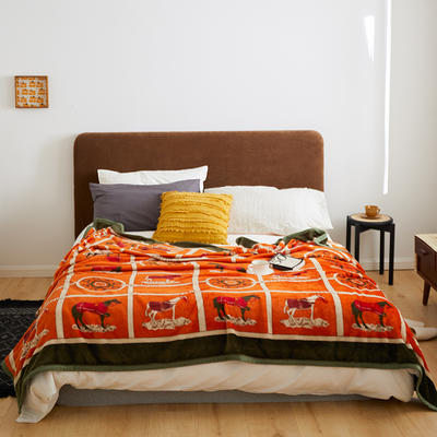 2020新款法兰绒小毛毯被子办公室午睡毯单人加厚保暖珊瑚绒毯子空调盖毯冬 150*200cm 马车