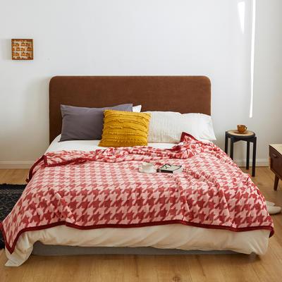 2020新款法兰绒小毛毯被子办公室午睡毯单人加厚保暖珊瑚绒毯子空调盖毯冬 120*200cm 千鸟格红