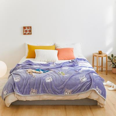 2020新款法兰绒小毛毯被子办公室午睡毯单人加厚保暖珊瑚绒毯子空调盖毯冬 150*200cm 调皮熊