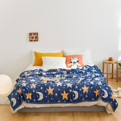 2020新款法兰绒小毛毯被子办公室午睡毯单人加厚保暖珊瑚绒毯子空调盖毯冬 150*200cm 晚安月亮