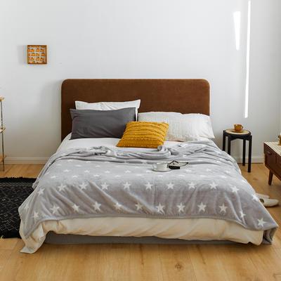 2020新款法兰绒小毛毯被子办公室午睡毯单人加厚保暖珊瑚绒毯子空调盖毯冬 150*200cm 五角星