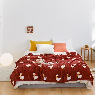 2020新款法兰绒小毛毯被子办公室午睡毯单人加厚保暖珊瑚绒毯子空调盖毯冬 150*200cm 小萌鸭子