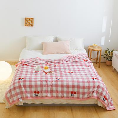 2020新款法兰绒小毛毯被子办公室午睡毯单人加厚保暖珊瑚绒毯子空调盖毯冬 150*200cm 小樱桃