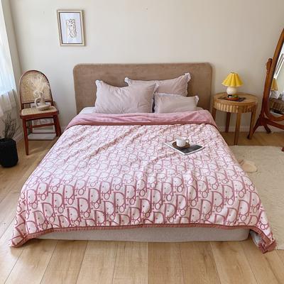 双层加厚高品质复合云毯北欧毛毯法兰绒珊瑚绒毯子秋冬休闲毯 200cmx230cm I DO 粉色