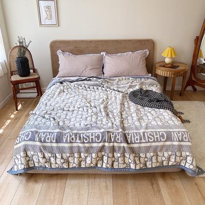 双层加厚高品质复合云毯北欧毛毯法兰绒珊瑚绒毯子秋冬休闲毯 150*200cm I DO 灰色
