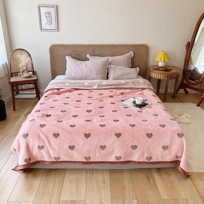 双层加厚高品质复合云毯北欧毛毯法兰绒珊瑚绒毯子秋冬休闲毯 200cmx230cm 复古爱心