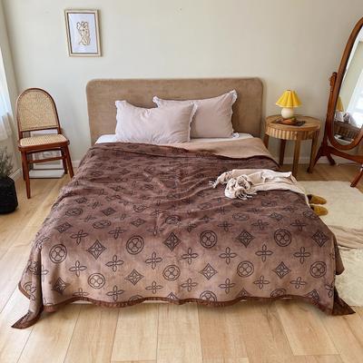 双层加厚高品质复合云毯北欧毛毯法兰绒珊瑚绒毯子秋冬休闲毯 150*200cm 复古四叶花