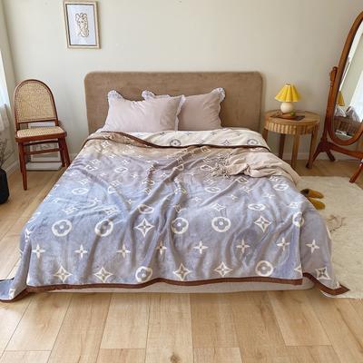 双层加厚高品质复合云毯北欧毛毯法兰绒珊瑚绒毯子秋冬休闲毯 200cmx230cm 渐变色四叶花