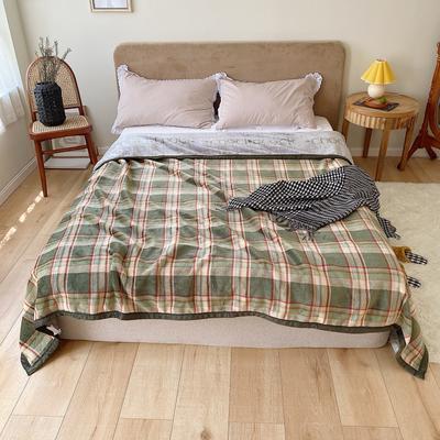 双层加厚高品质复合云毯北欧毛毯法兰绒珊瑚绒毯子秋冬休闲毯 150*200cm 经典绿格