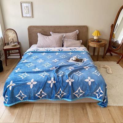 双层加厚高品质复合云毯北欧毛毯法兰绒珊瑚绒毯子秋冬休闲毯 150*200cm 经典四叶花(蓝)