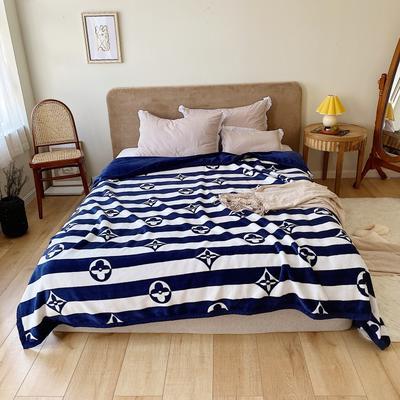 双层加厚高品质复合云毯北欧毛毯法兰绒珊瑚绒毯子秋冬休闲毯 200cmx230cm 条纹四叶花