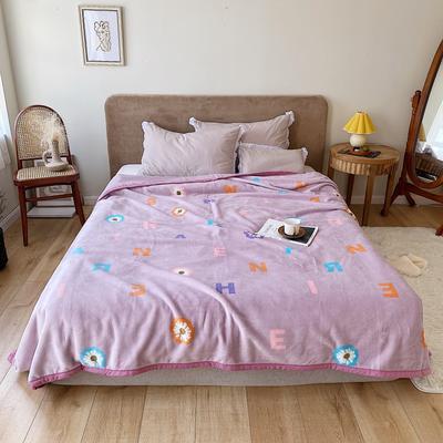 双层加厚高品质复合云毯北欧毛毯法兰绒珊瑚绒毯子秋冬休闲毯 150*200cm 字母花