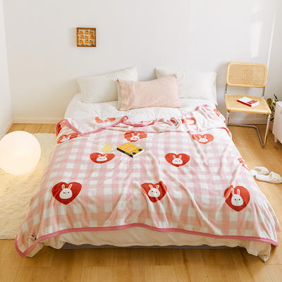 2020新款法兰绒小毛毯被子办公室午睡毯单人加厚保暖珊瑚绒毯子空调盖毯冬 150*200cm 爱心兔子