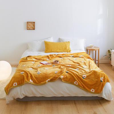 2020新款法兰绒小毛毯被子办公室午睡毯单人加厚保暖珊瑚绒毯子空调盖毯冬 150*200cm 可爱花朵