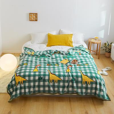 2020新款法兰绒小毛毯被子办公室午睡毯单人加厚保暖珊瑚绒毯子空调盖毯冬 120*200cm 恐龙