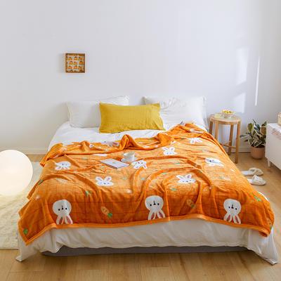 2020新款法兰绒小毛毯被子办公室午睡毯单人加厚保暖珊瑚绒毯子空调盖毯冬 120*200cm 萝卜兔