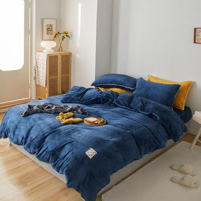 2020新款舒棉绒纯色四件套单双人套件 1.2m床单款三件套 电光蓝