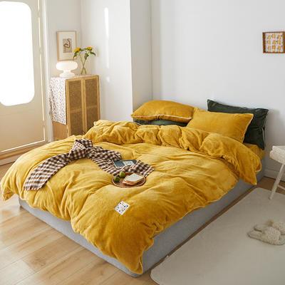 2020新款舒棉绒纯色四件套单双人套件 1.5m床单款四件套 酱黄色