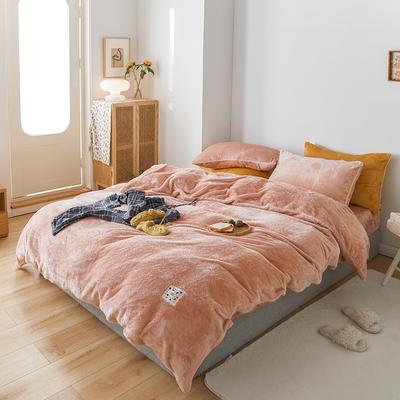 2020新款舒棉绒纯色四件套单双人套件 1.5m床单款四件套 梦幻粉