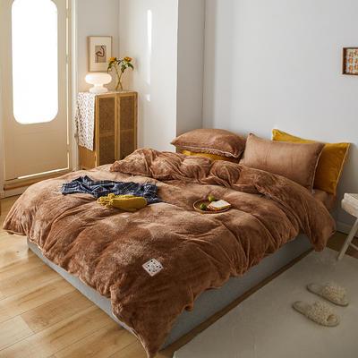 2020新款舒棉绒纯色四件套单双人套件 1.5m床单款四件套 南瓜咖
