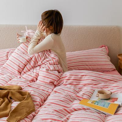 2020新款阳离子色织魔法绒套件1.5/1.8/2.0床上用品 1.8m床单款四件套 珍珠粉