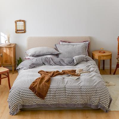 2020新款阳离子色织魔法绒套件1.5/1.8/2.0床上用品 1.8m床单款四件套 珍珠灰