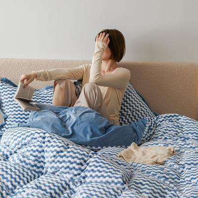 2020新款阳离子色织魔法绒套件1.5/1.8/2.0床上用品 1.8m床单款四件套 珍珠蓝