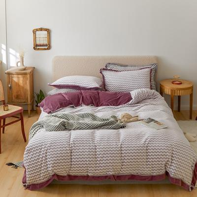2020新款阳离子色织魔法绒套件1.5/1.8/2.0床上用品 1.8m床单款四件套 珍珠紫