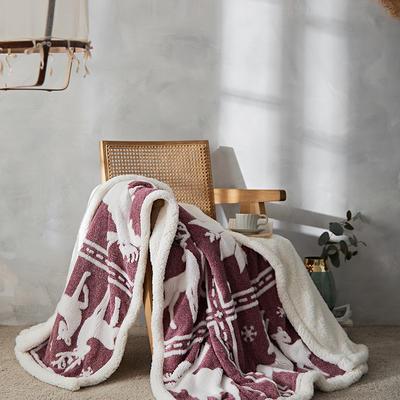 2021新款提花舒棉绒多功能毛毯 180cmx200cm 北欧风情-红