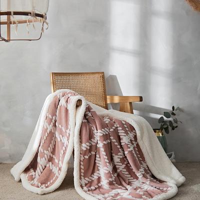 2021新款提花舒棉绒多功能毛毯 180cmx200cm 格纹-粉