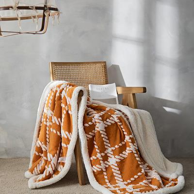 2021新款提花舒棉绒多功能毛毯 180cmx200cm 格纹-南瓜色