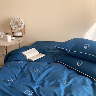 2021新款水洗棉小熊绣花四件套-实拍图 1.8m床单款四件套 布鲁斯蓝