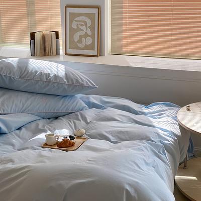 2021新款水洗棉小熊绣花四件套-实拍图 1.8m床单款四件套 麦卡蓝