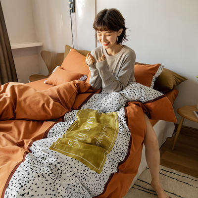 2021新款轻奢中古系列数码拼接全棉磨毛套件 1.8m床单款四件套 爱玛-橘