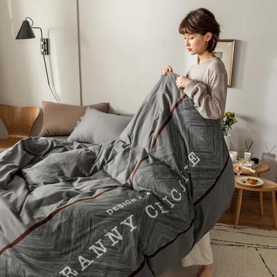2021新款轻奢中古系列数码拼接全棉磨毛套件 1.8m床单款四件套 巴洛克灰